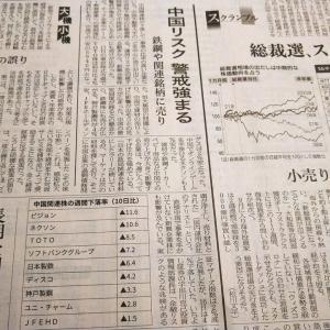 今朝の日経から3年9月18日 中国リスクを意識する【株式・投信・マーケット】
