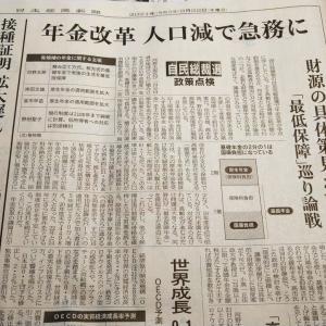 今朝の日経から3年9月22日 どうなる?年金改革【経済情勢】
