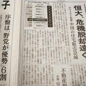 今朝の日経から3年10月23日 安心からは遠い恒大問題【経済情勢】