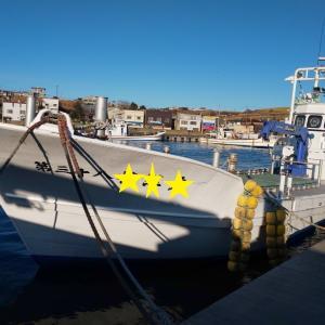 今年の漁が終了したので船を陸に上げました。定置網漁
