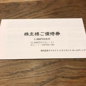 【3387】クリエイト・レストランツHDから優待到着(2021年2月末権利)