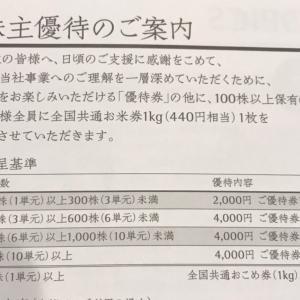 【3372】関門海の優待(2021年3月末権利)今回からお米券があります~!