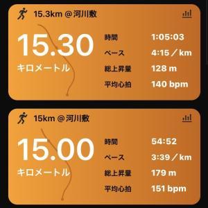15kmペース走+15kmジョグ