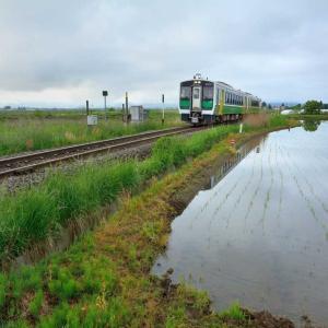 会津美里町で若夏の田園と只見線撮影