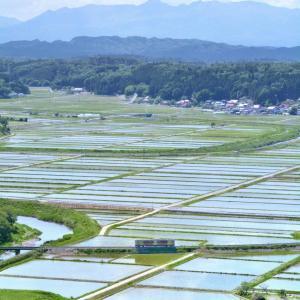 浅川町城山公園から眺める新田と水郡線