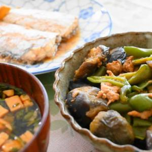 「太刀魚の煮つけとピーマンとナスの肉みそ炒め」夫へのランチ(マリー亭)
