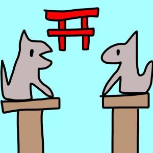 【お絵かき】狛犬とハチ公とマーライオン