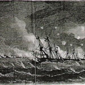 薩摩軍の砲撃で多くの戦艦に損傷を受け、上陸せずに退却した英艦隊~~薩英戦争2