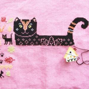 """フリーチャート「秋猫さん」""""Autumn Cat"""" Owl Forest Embroidery"""