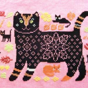 """フリーチャート 秋猫さん♪ """"Autumn Cat"""" Owl Forest Embroidery"""