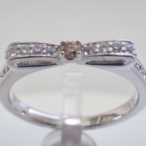 恋愛運アップ❤︎天然石 ブラウンダイヤモンド×ダイヤモンド リボン リング❤︎指輪 誕生石