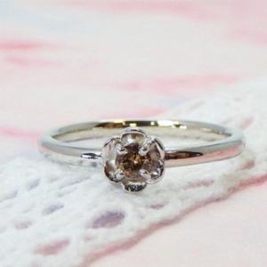 ❤︎ ≪シルバー925≫誕生石のシンプルフラワーリング【ブラウンダイヤ】指輪❤︎