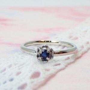 ❤︎ ≪シルバー925≫誕生石のシンプルフラワーリング【サファイア】指輪❤︎