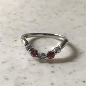 ❤︎ ≪シルバー925≫ダイヤモンド&天然石V字リング【ピンクトルマリン】指輪❤︎
