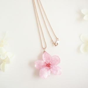 【限定】Early Bloom. 本物のお花 早咲き桜とピンクゴールドの一輪ネックレス