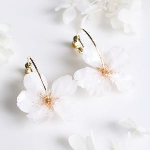 Everpink Sakura. 桜とコットンパールのフープイヤリング