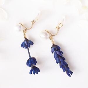 【再販・受注製作】Lavender. 本物のお花 香るラベンダーとコットンパールのそよ風クリップ