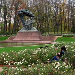 ショパン像前のバラ達はまだ元気ww