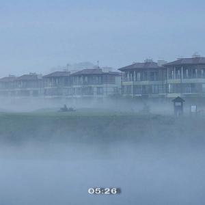 5月なのに濃霧の幻想的な朝だった