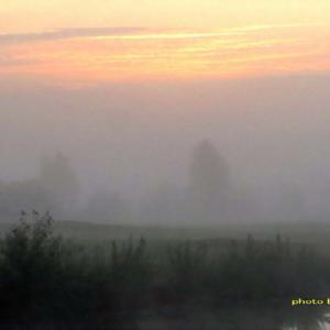 霧の朝~深夜には雷鳴も聞こえた