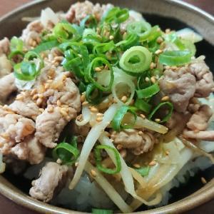豚肉とキャベツの胡麻味噌丼