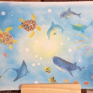 好きなものを描く(*≧∀≦*)またまた、*海の生き物*マステルアート
