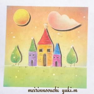 王城の月と雲を描きました〜
