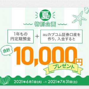 じぶん銀行とカブコム証券の新規口座開設で1万円がもらえます