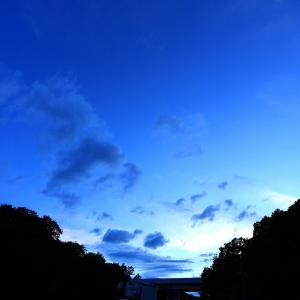 【 夕景と月とある物体・・・。 】