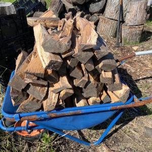 薪割りと枝豆