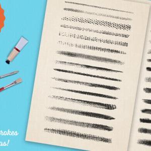 【無料】Illustrator用29種類のアクリル絵の具風のレトロな雰囲気のある水彩ブラシセット