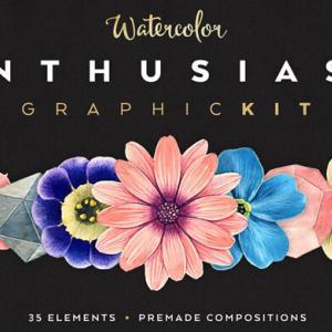 【無料&商用可】35種の水彩色鉛筆風の花・草木パステルベクター画像素材【フリー/淡い/リアル】