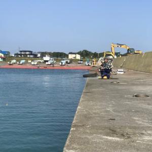 配送前の釣り M川漁港の鮭釣り