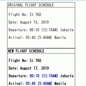 ☆★セブパシフィック航空からのメール・・・「CEB Schedule Change」