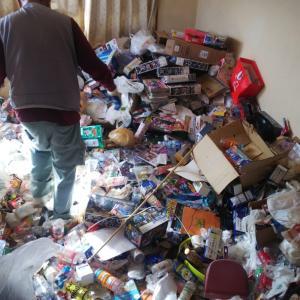 ゴミが部屋中に積み上げられています。