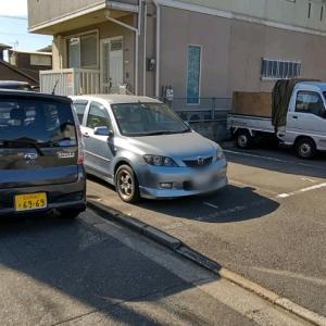会社の駐車場に戻ったら、会社の黒い軽にのりかえて、