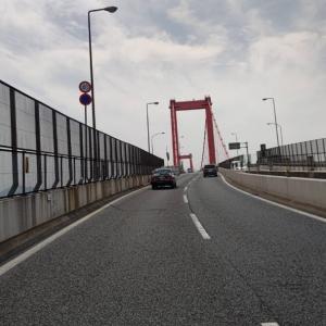 若松エリアの配達が終われば、若戸大橋でまた洞海湾を