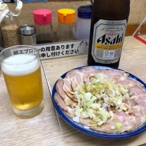 相模大野ラーメン食堂がんやでせんべろ!!おつまみチャーシューと瓶ビール最高です!!