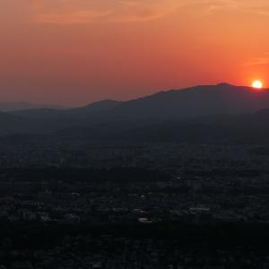 京都・大文字山からの夕日