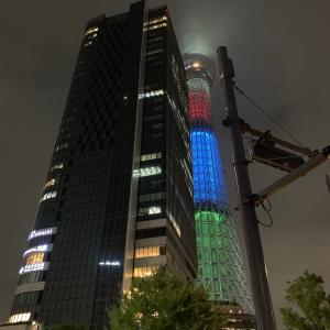 東京スカイツリーのオリンピック特別ライティング