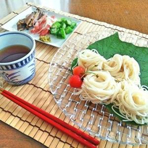 椎茸とお素麺・茄子の味噌炒め