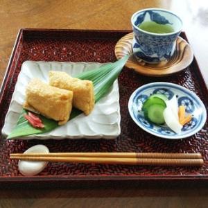 和食の夕ご飯・わさび稲荷