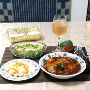 簡単ビーフシチュー・生帆立のサラダ