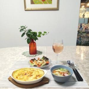 海老・帆立・マロン入りマカロニグラタン・スープ