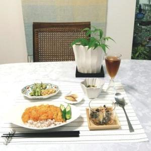 山菜おろし蕎麦・海老チリ卵丼