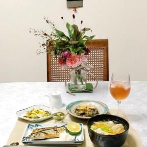 ばら寿司・秋刀魚と豚汁