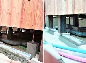 浴室床下防風囲い & 雨水管埋設・電線引込柱設置  ・・・  縁の下の力持ち ~ 見えないところの工事