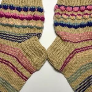 【棒針編み】靴下34号~バブルステッチ & シマシマ模様~