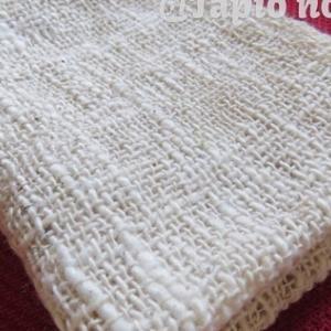 手紡ぎコットン糸を使って織る