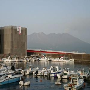 大雨で心配(>_<) 鹿児島市鴨池港からの桜島